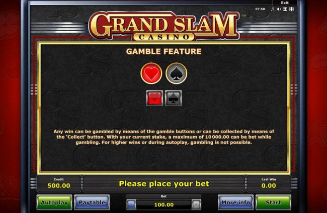 Grand Slam Casino :: Gamble Feature Rules