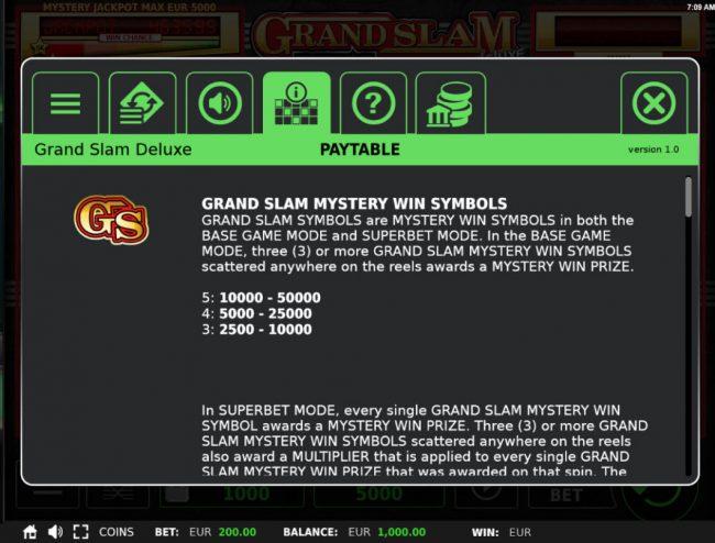 Grand Slam Deluxe :: Scatter Symbol Rules