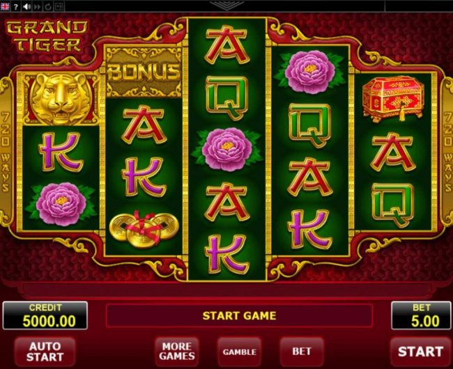 Betchan featuring the Video Slots Grand Tiger with a maximum payout of $12,500
