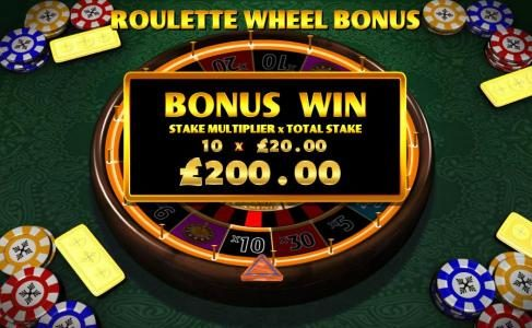 the roulette wheel will automatically start spinning - you win the prize when it stops- here the wheel landed on the 10x multiplier