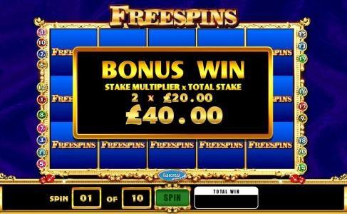 bonus win - stake multiplier x total stake