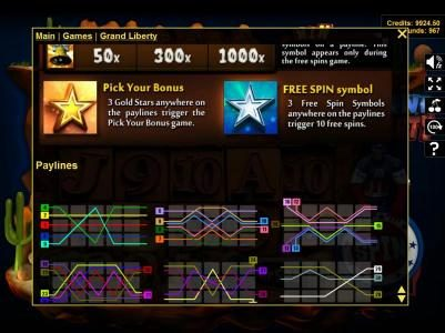 Winaday featuring the Video Slots Grand Liberty with a maximum payout of $3,750