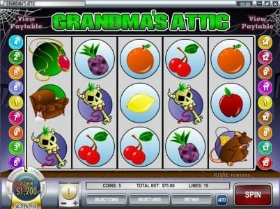 Winbig21 featuring the video-Slots Grandma's Attic with a maximum payout of $37,500