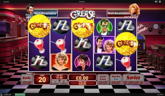 Vernons featuring the Video Slots Grease with a maximum payout of $20,000