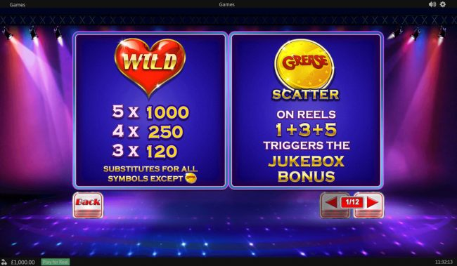 Unleashed featuring the Video Slots Grease with a maximum payout of $20,000