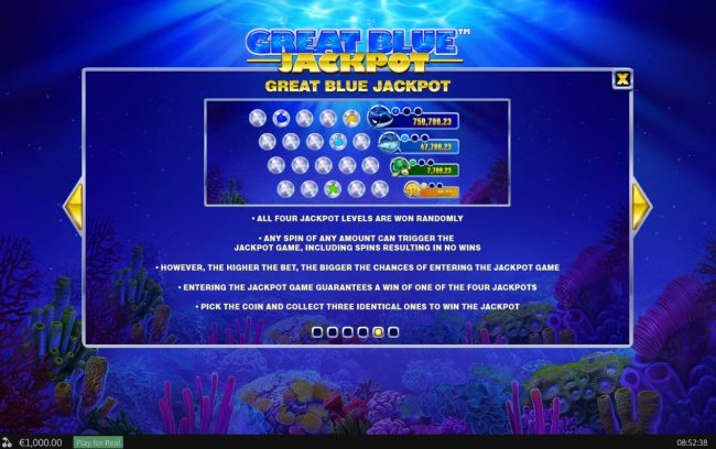 Play slots at Fly Casino: Fly Casino featuring the Video Slots Great Blue Jackpot with a maximum payout of Jackpot