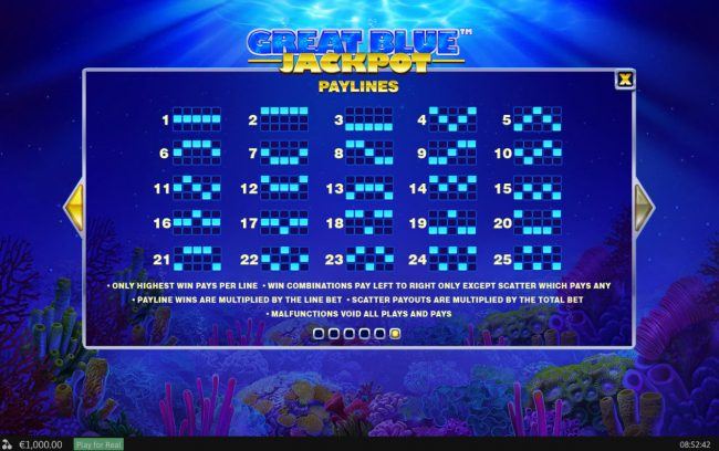 Rey8 featuring the Video Slots Great Blue Jackpot with a maximum payout of Jackpot