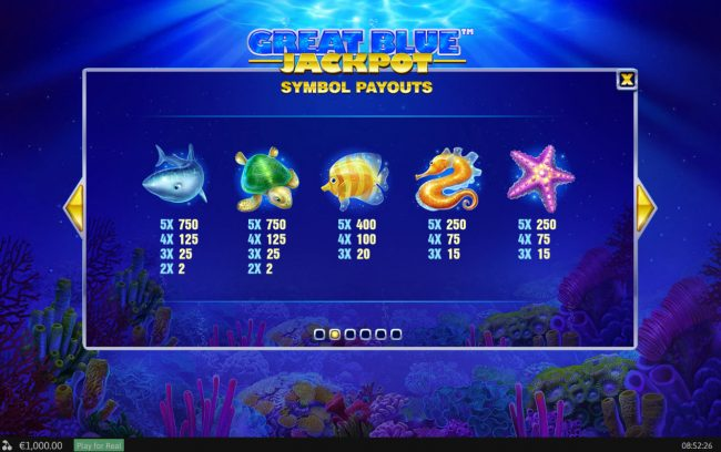 Tropez featuring the Video Slots Great Blue Jackpot with a maximum payout of Jackpot