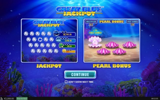 Slots Heaven featuring the Video Slots Great Blue Jackpot with a maximum payout of Jackpot