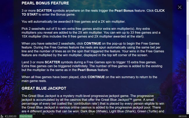 Noble featuring the Video Slots Great Blue Jackpot with a maximum payout of Jackpot