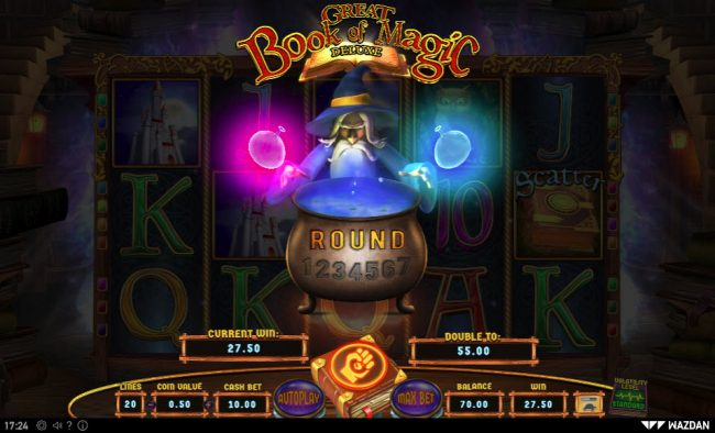 Play slots at Scatters: Scatters featuring the Video Slots Great Book of Magic Deluxe with a maximum payout of $25,000