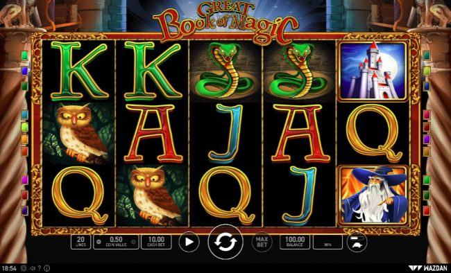 Play slots at Videoslots: Videoslots featuring the Video Slots Great Book of Magic with a maximum payout of $25,000