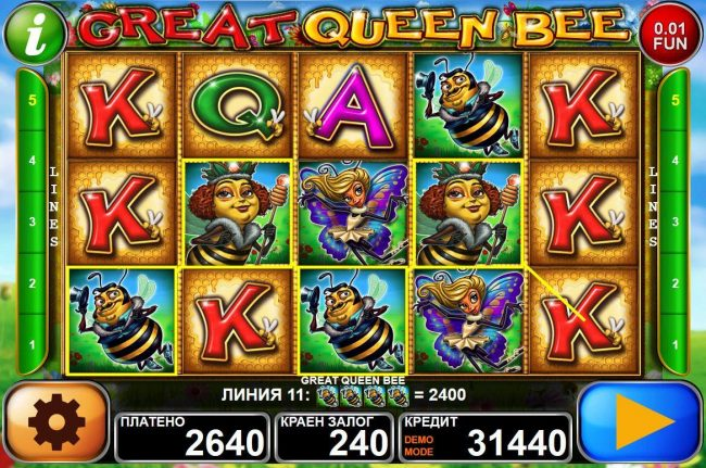 Videoslots featuring the Video Slots Great Queen Bee with a maximum payout of $125,000