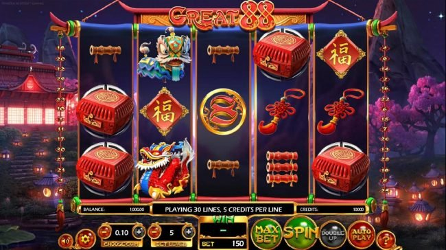 Real Bet featuring the Video Slots Great 88 with a maximum payout of $2,250,000