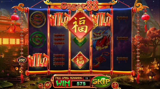 Play slots at Real Bet: Real Bet featuring the Video Slots Great 88 with a maximum payout of $2,250,000