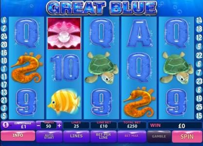 Money Storm featuring the Video Slots Great Blue with a maximum payout of $500,000