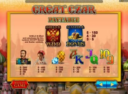 Grand Wild featuring the Video Slots Great Czar with a maximum payout of $625