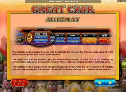 All Irish featuring the Video Slots Great Czar with a maximum payout of $625