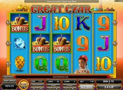 Casino Share featuring the Video Slots Great Czar with a maximum payout of $625