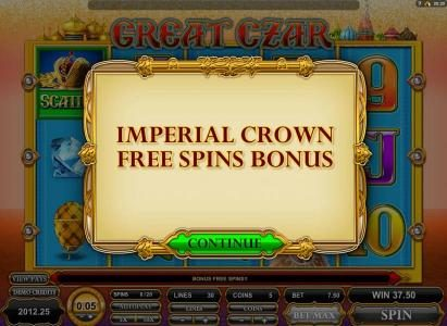 Blackjack Ballroom featuring the Video Slots Great Czar with a maximum payout of $625