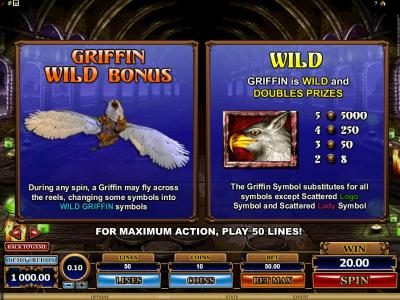Bonanza featuring the Video Slots Great Griffin with a maximum payout of $5,000