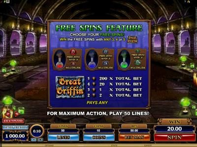 Wintingo featuring the Video Slots Great Griffin with a maximum payout of $5,000