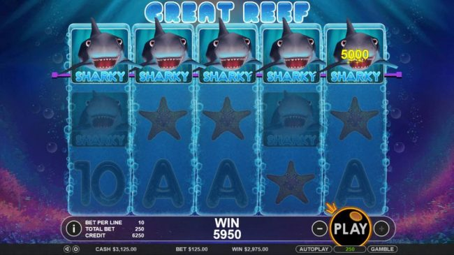 Mayflower featuring the Video Slots Great Reef with a maximum payout of $2,500