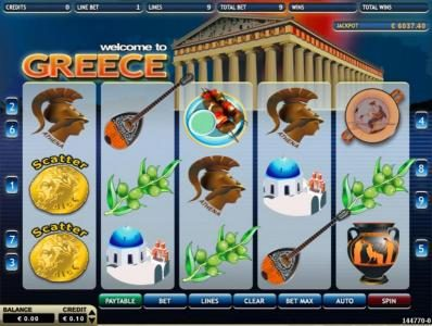 Greece :: Main game board featuring five reels and 9 paylines with a $750 max payout
