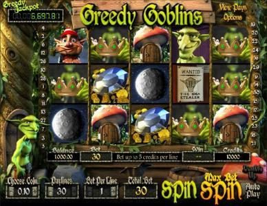 Play slots at Carbon Casino: Carbon Casino featuring the Video Slots Greedy Goblins with a maximum payout of Jackpot