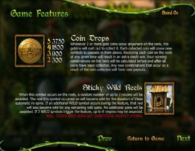 Greedy Goblins :: game features - coin drops and sticky wild reels rules