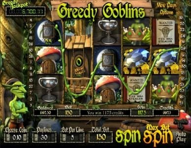 Greedy Goblins :: 1175 coin jackpot triggered by multiple winning paylines
