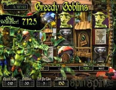 Greedy Goblins :: five of a kind triggers a 7125 big win jackpot