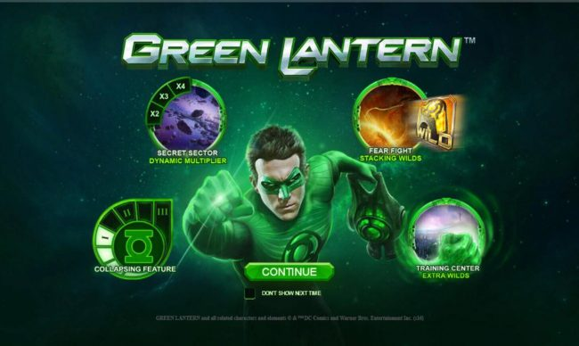 Green Lantern :: Game features include: Collapsing Feature, Training Center Extra Wilds, Fear Fight Stacking Wilds and Secret Sector Dynamic Multiplier.
