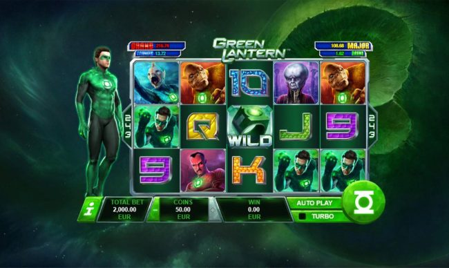 Green Lantern :: A crime fighting superhero themed main game board featuring five reels and 243 winning combinations with a progressive jackpot max payout