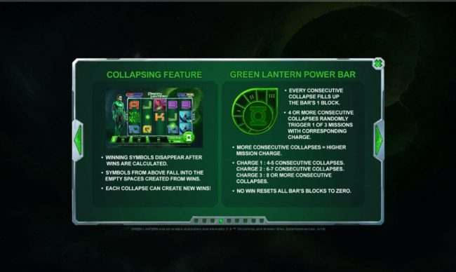 Green Lantern :: Collapsing Feature and Greeen Lantern Power Bar Rules