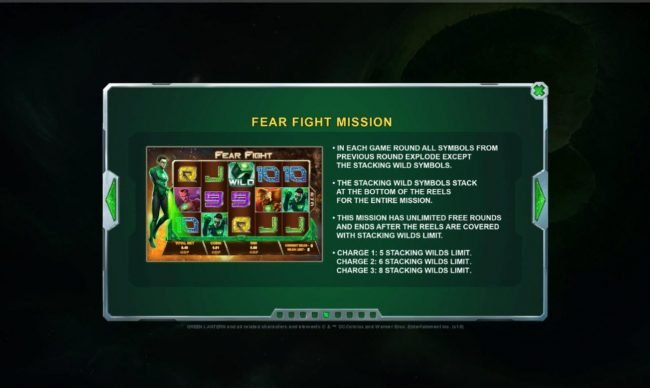 Green Lantern :: Fear Fight Mission - This mission has unlimited free rounds and ends after the reels are covered with stacking wilds limit.