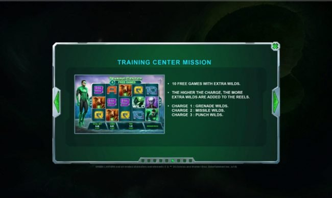 Green Lantern :: Training Center Mission - 10 Free Games with Extra Wilds.