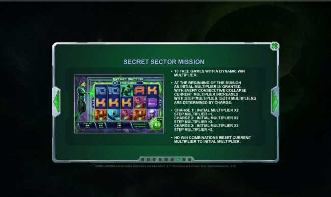 Green Lantern :: Secret Sector Mission - 10 Free Games with a dynamic multiplier.