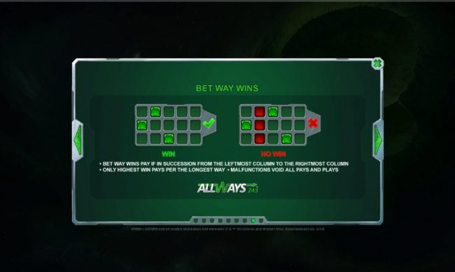 Green Lantern :: 243 Ways to Win. All wins pay from left to right.