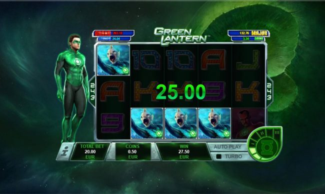 Green Lantern :: 4th consecutive win triggers a 25.00 payout.