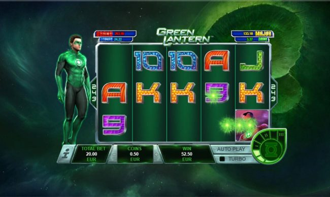 Club Vulkan featuring the Video Slots Green Lantern with a maximum payout of Jackpot