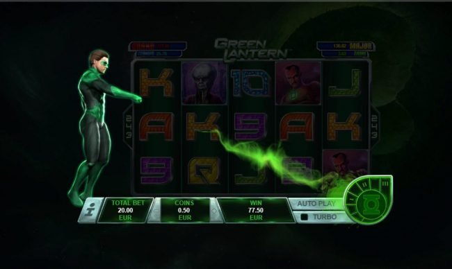 Green Lantern :: After 4 consecutive winning combinations, the Bar Meter with award one of three free rounds