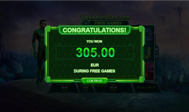 Green Lantern :: The Training Mission free games feature pays out a total of 305.00