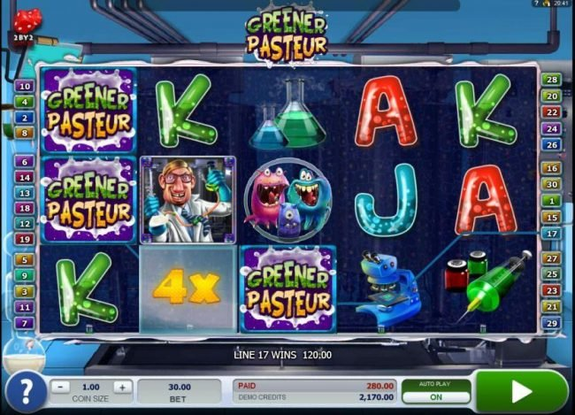 NetBet featuring the Video Slots Greener Pasteur with a maximum payout of $72,000