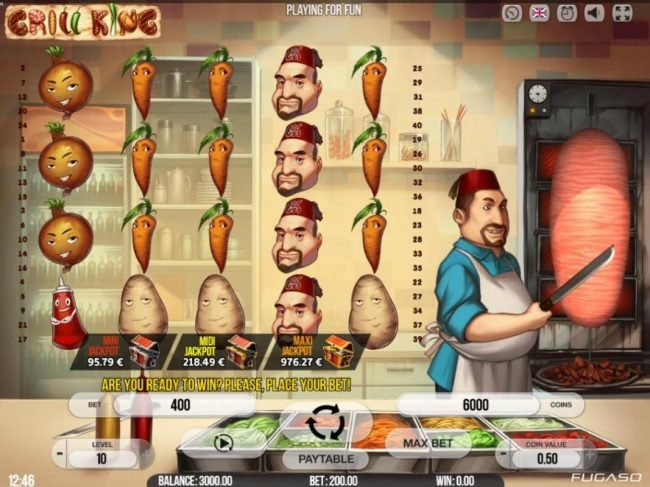 Magik Slots featuring the Video Slots Grill King with a maximum payout of $200,000