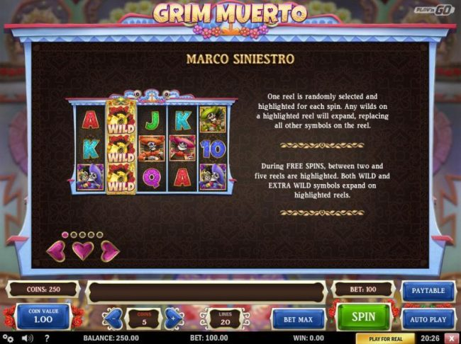 Play slots at Wild Tornado: Wild Tornado featuring the Video Slots Grim Muerto with a maximum payout of $5,000