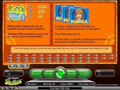 Jackpot Mobile featuring the Video Slots Groovy Sixties with a maximum payout of $2,500