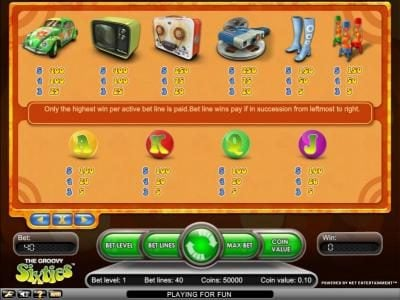 Rich Casino featuring the Video Slots Groovy Sixties with a maximum payout of $2,500