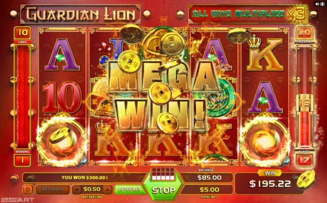 Lord of the Spins featuring the Video Slots Guardian Lion with a maximum payout of $4,500