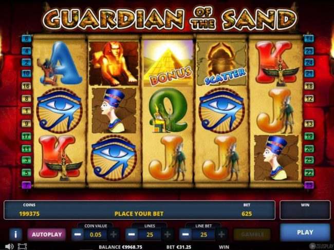 Play slots at 1X Slots: 1X Slots featuring the Video Slots Guardian of the Sand with a maximum payout of $312,500